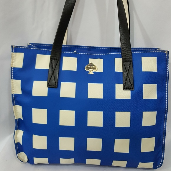 kate spade Handbags - Kate Spade blue and white nylon check bag
